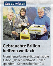Rhein-Zeitung: Gebrauchte Brillen helfen zweifach