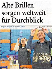 Rhein-Zeitung Mayen: Alte Brillen sorgen weltweit für Durchblick