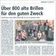 Schüler der Klasse 4a der Grundschule Ravensbusch haben mehr als 800 Brillen gesammelt
